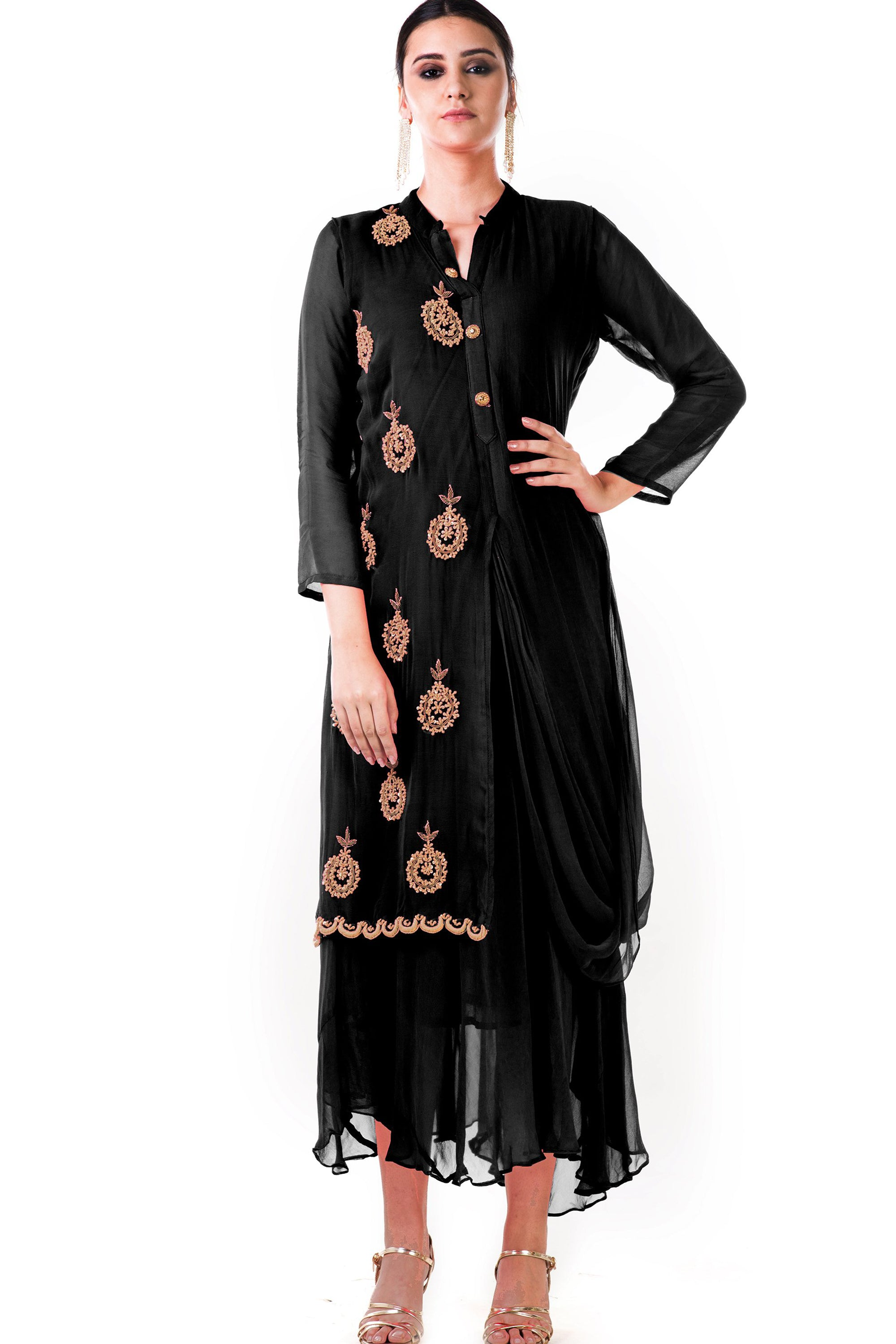 Black Cowl Tunic Dress Front