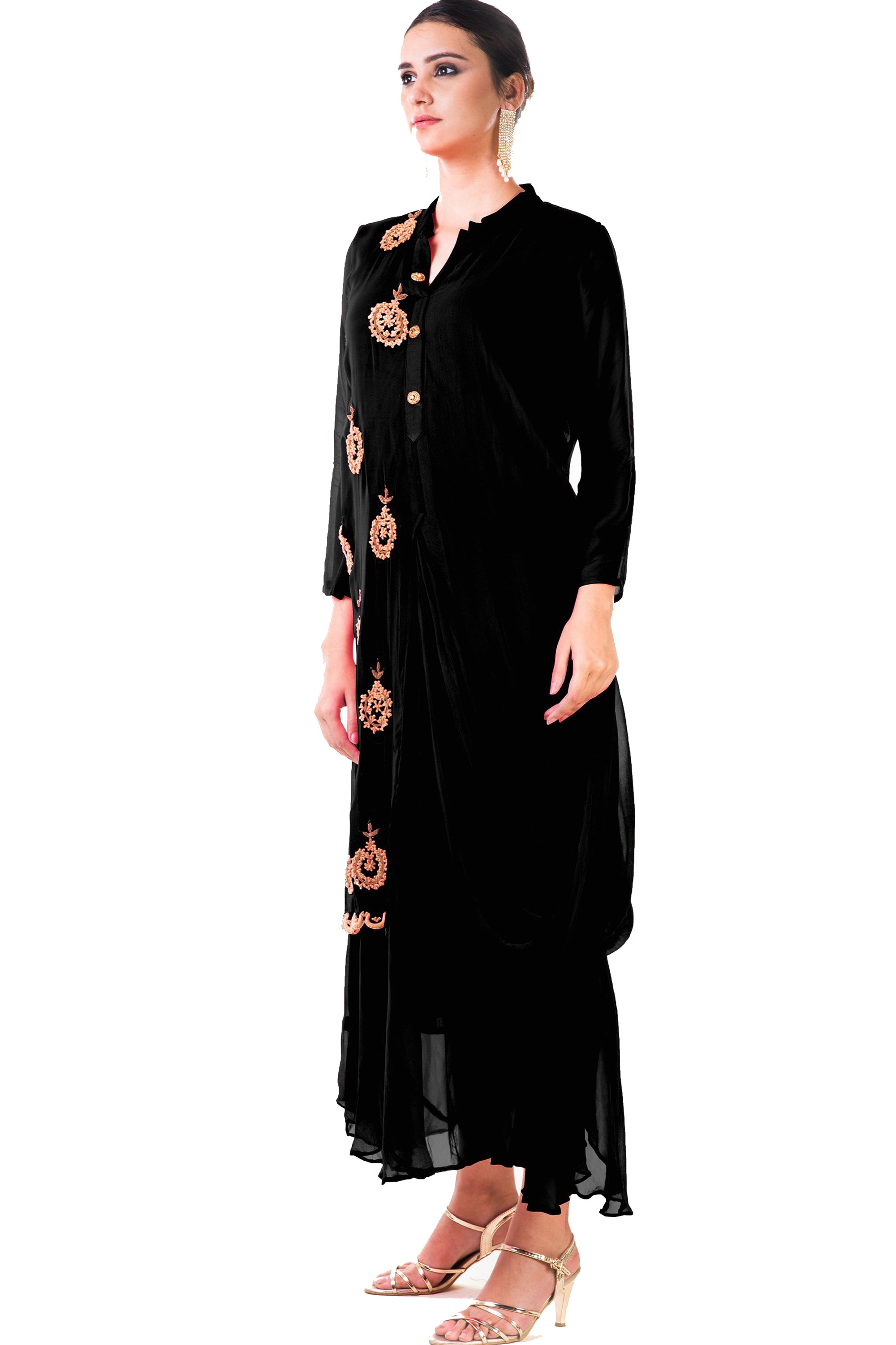 Black Cowl Tunic Dress Side