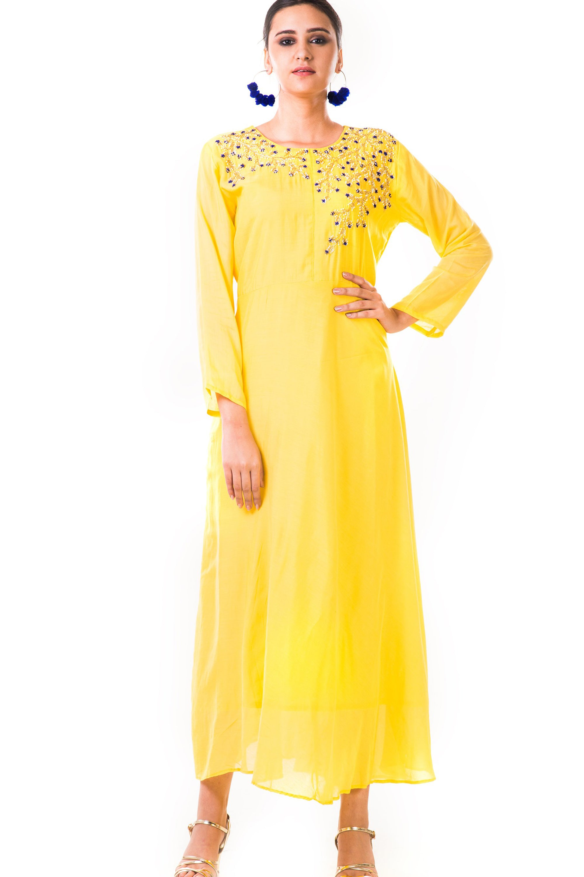 Yellow Hand Embroidered Flare Long Sleeve Gown Front