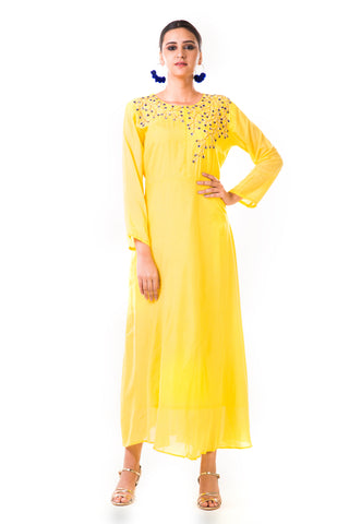 Yellow Sequin Work Silk Tunic Front