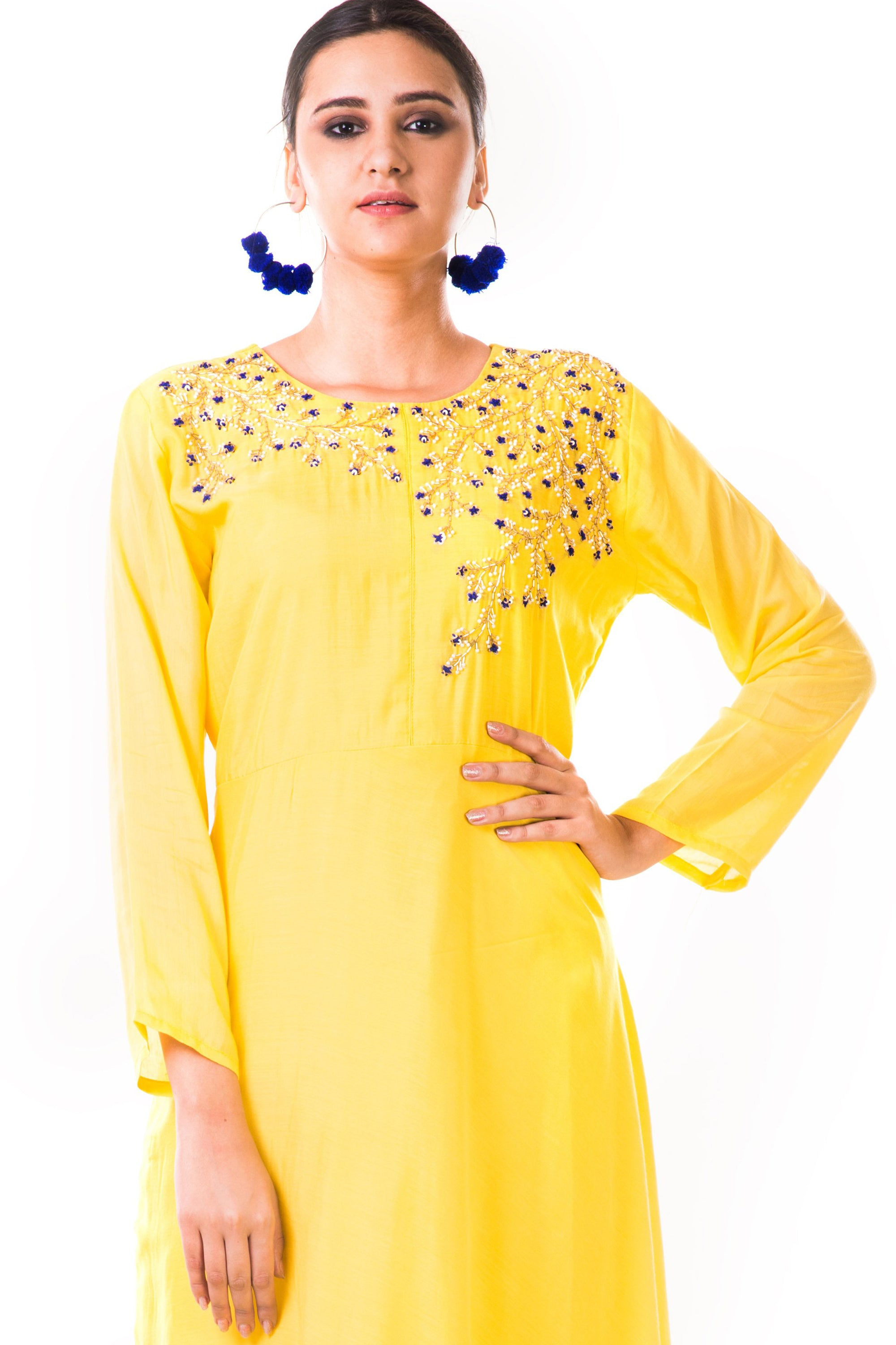 Yellow Hand Embroidered Flare Long Sleeve Gown CloseUp