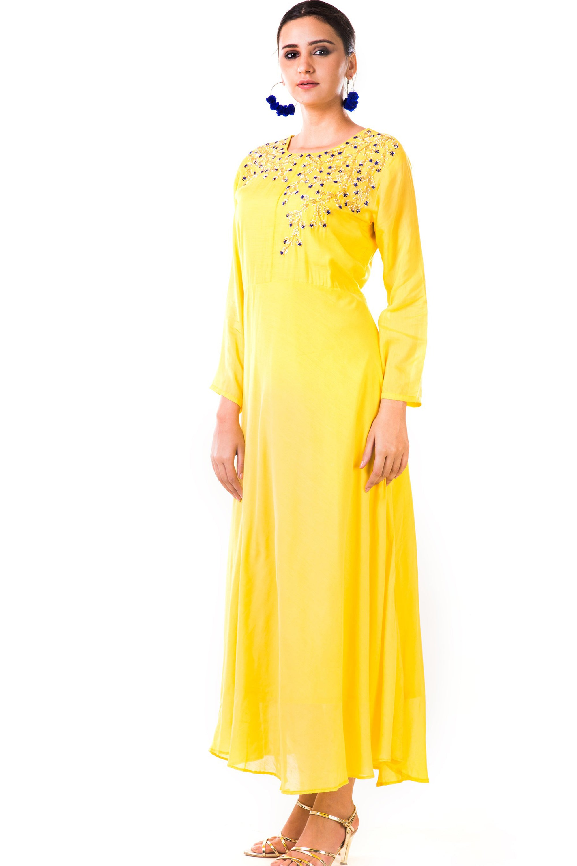Yellow Hand Embroidered Flare Long Sleeve Gown Side