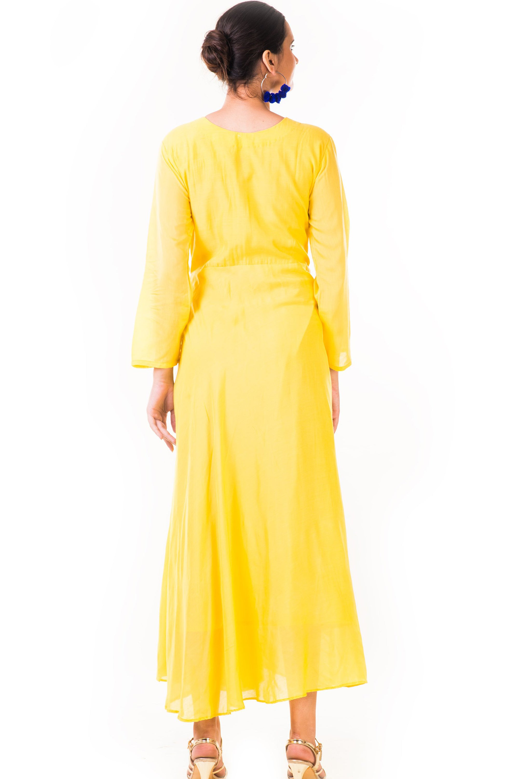 Yellow Hand Embroidered Flare Long Sleeve Gown Back