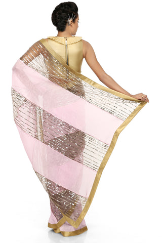 Pink & Grey Linen Saree