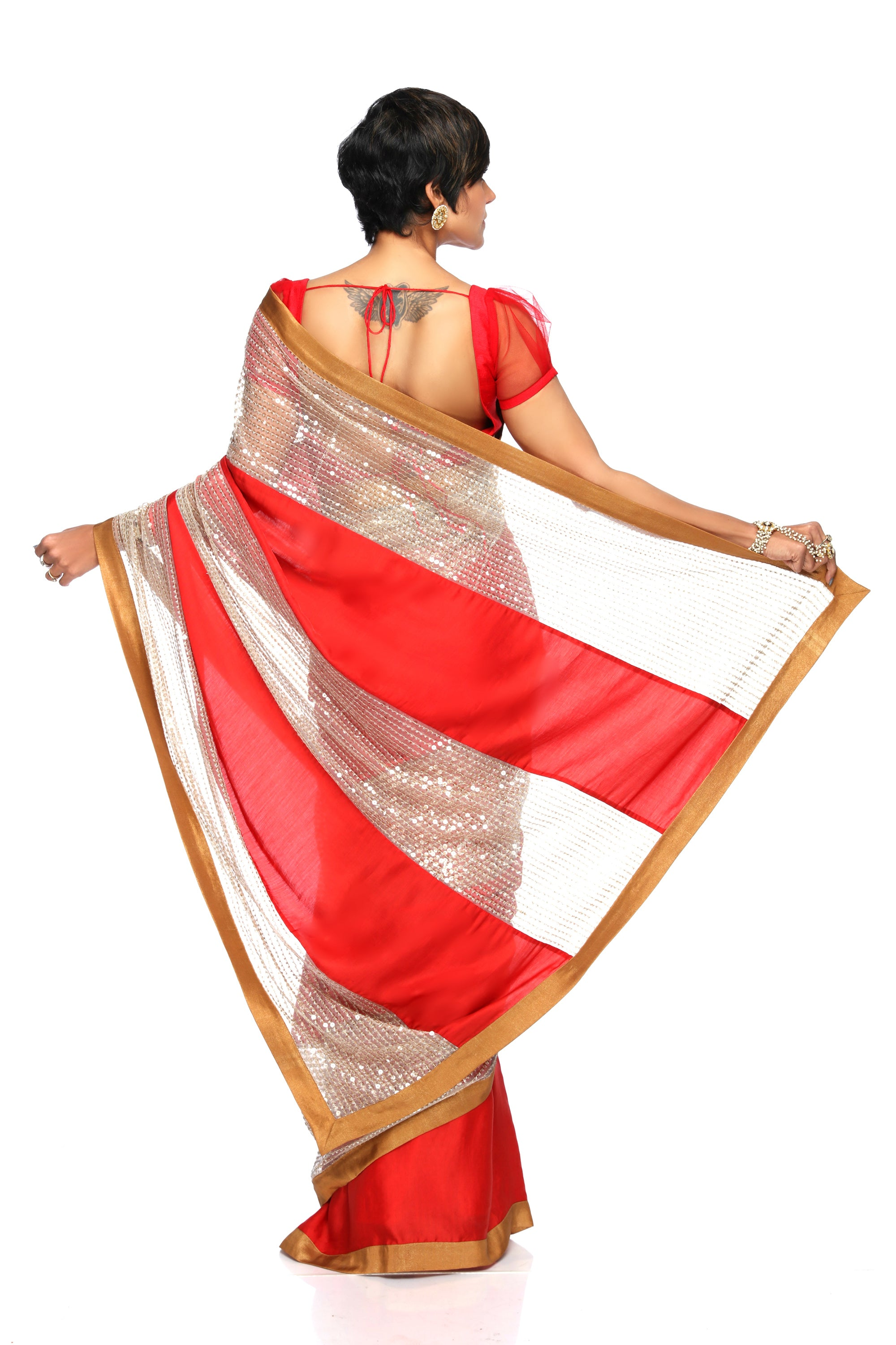 Red Satin Saree With Sequins Panel BACK