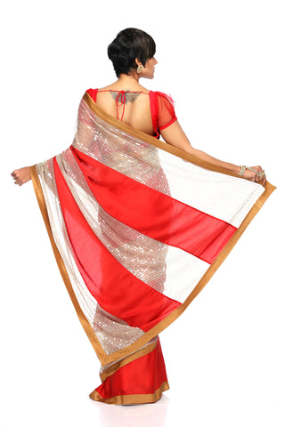Red Satin Saree With Sequins Panel