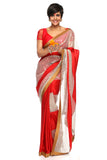 Red Satin Saree With Sequins Panel FRONT