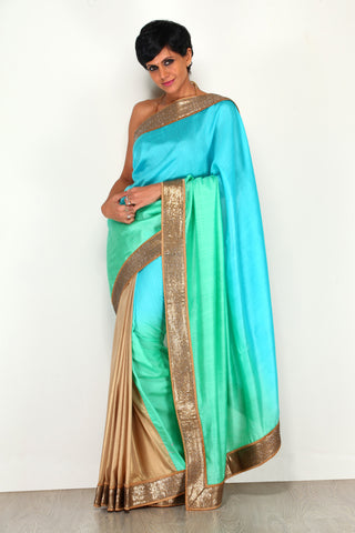 Aqua Blue & Antique Gold Shimmer Saree