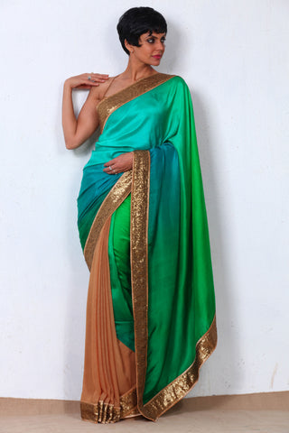 Green Shimmer Georgette Saree Front