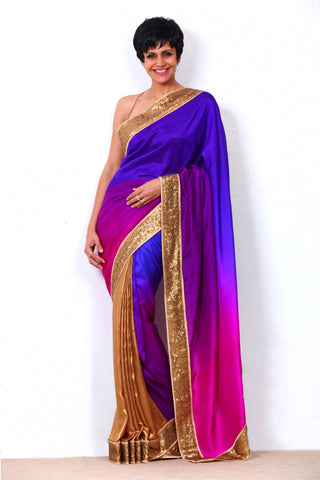 Purple To Pink Half & Half Saree