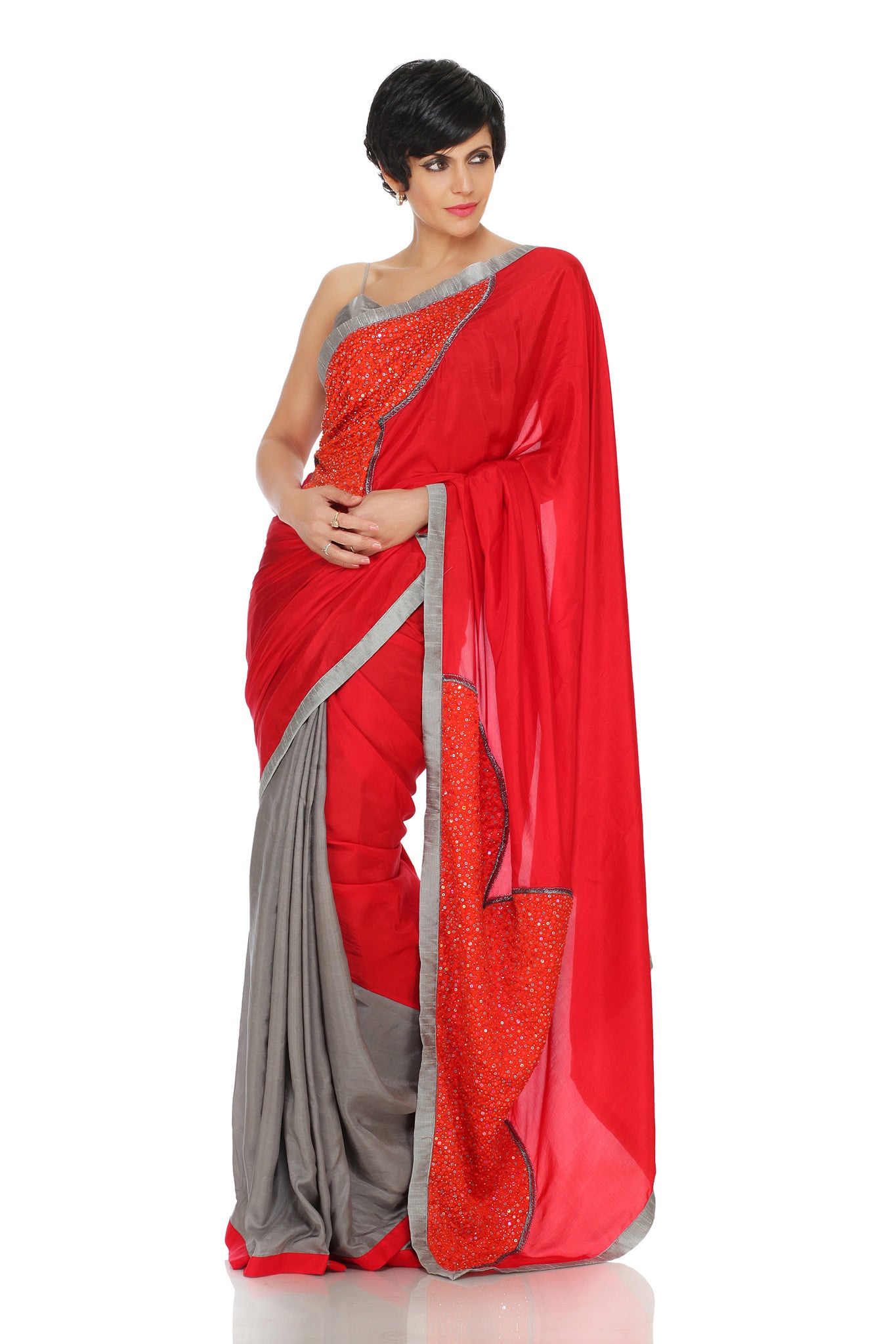 Red & Grey Silk Saree Front