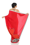 Red & Grey Silk Saree Back