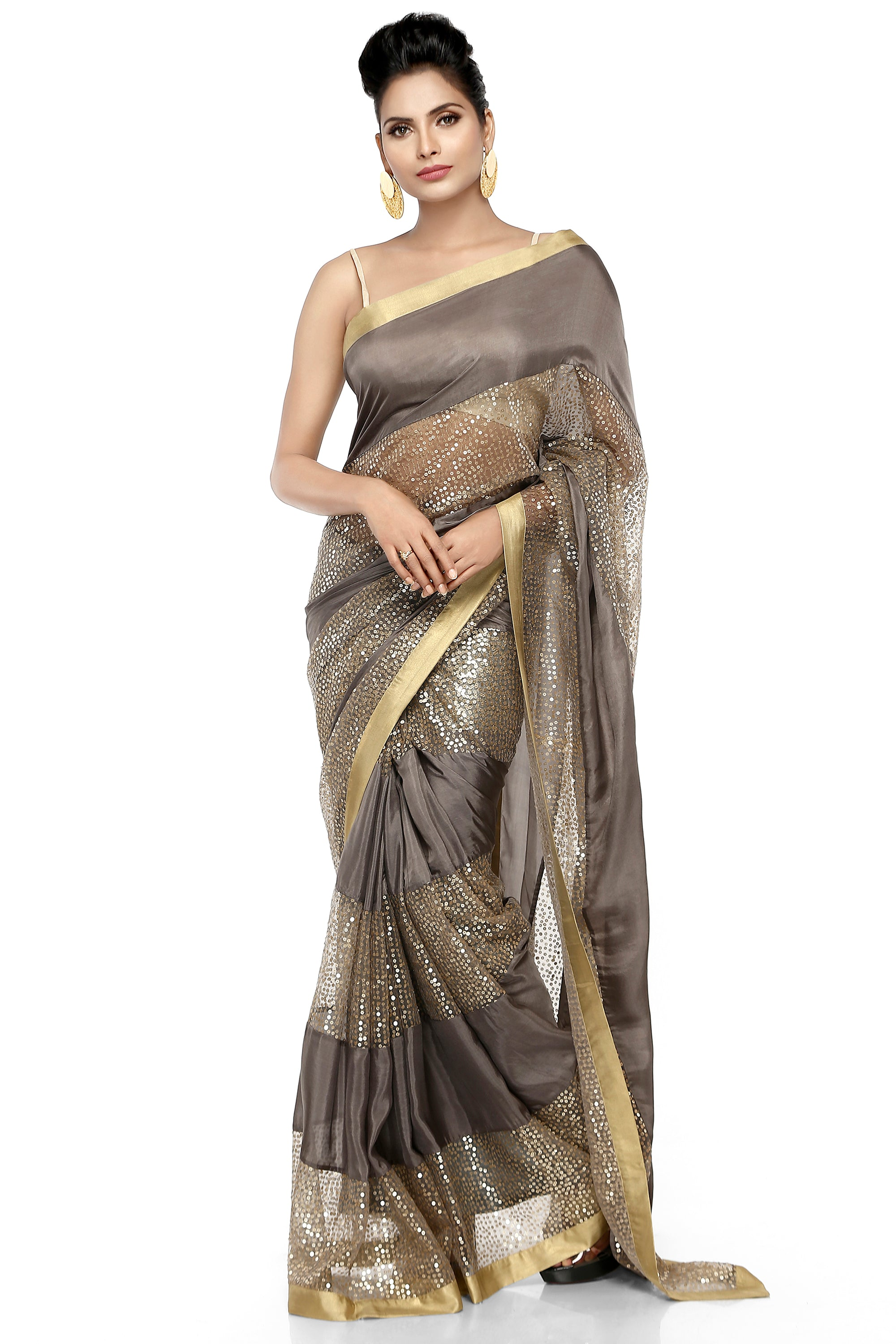 Grey Habotai Silk Saree Front