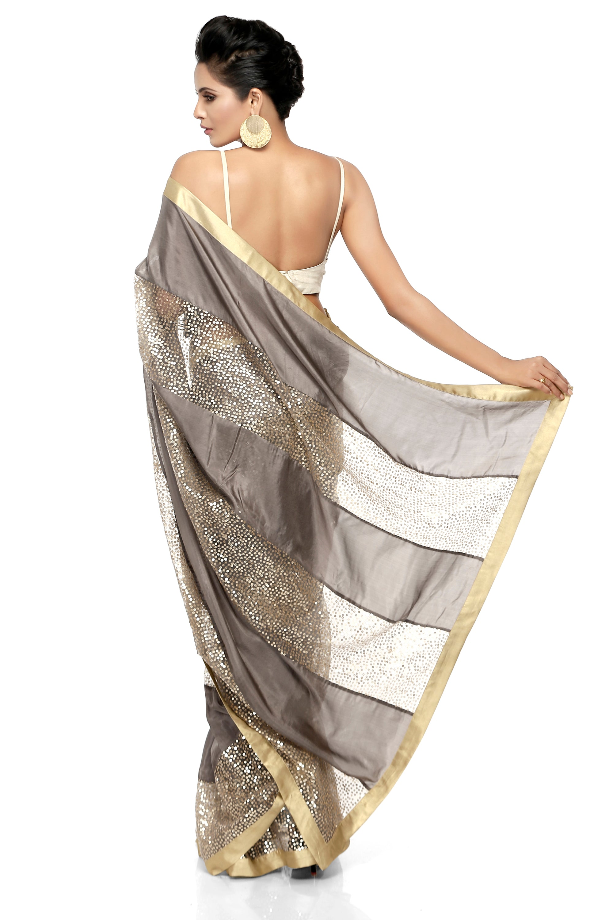 Grey Habotai Silk Saree Back
