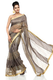 Grey Habotai Silk Saree
