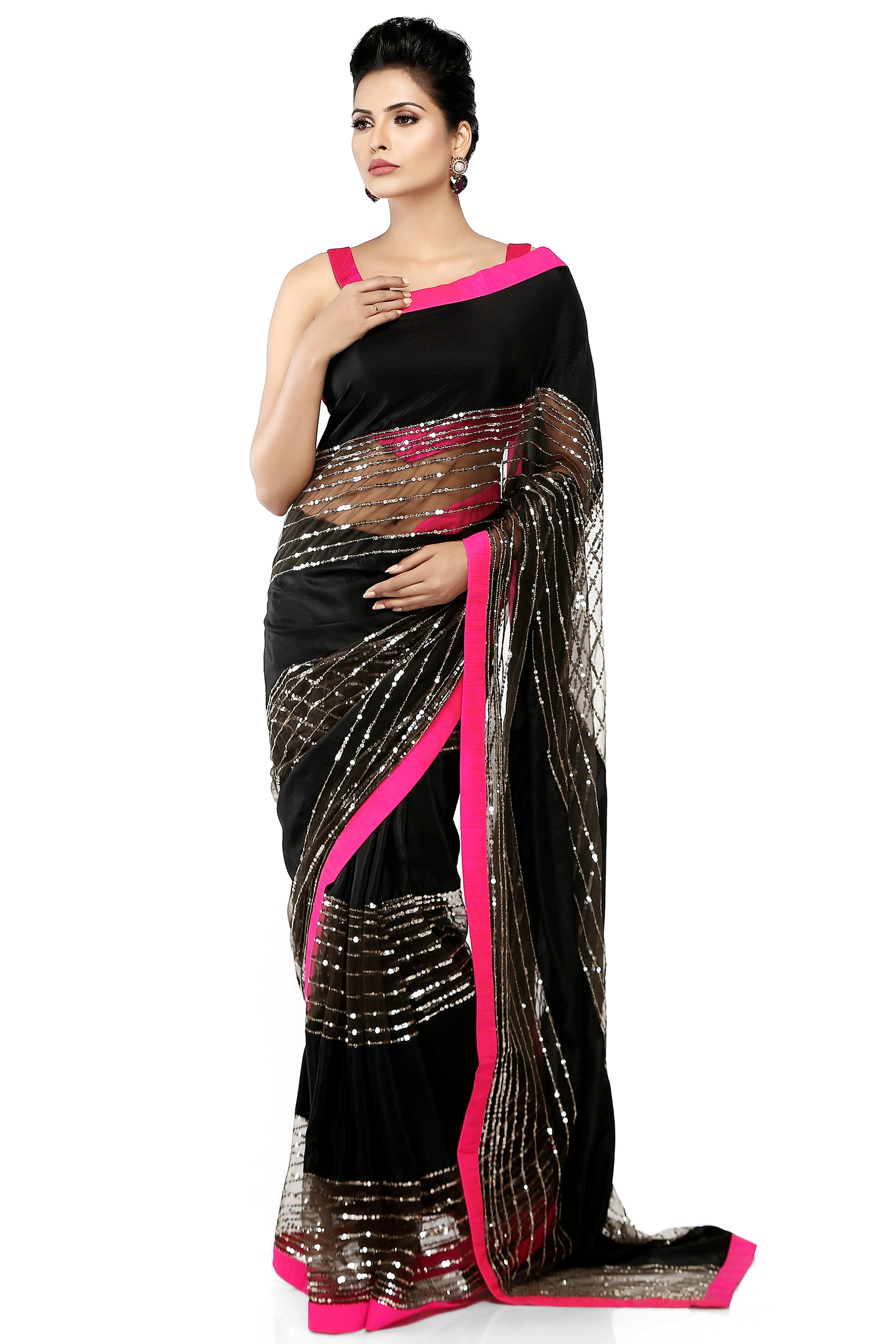 Black Habotai Silk Saree Front
