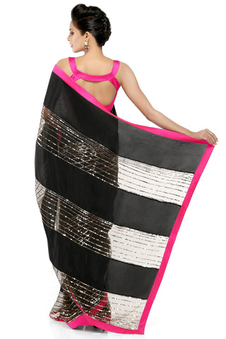 Black Habotai Silk Saree