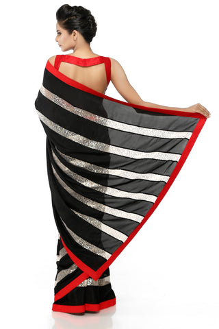 Black & White Habotai Silk Saree