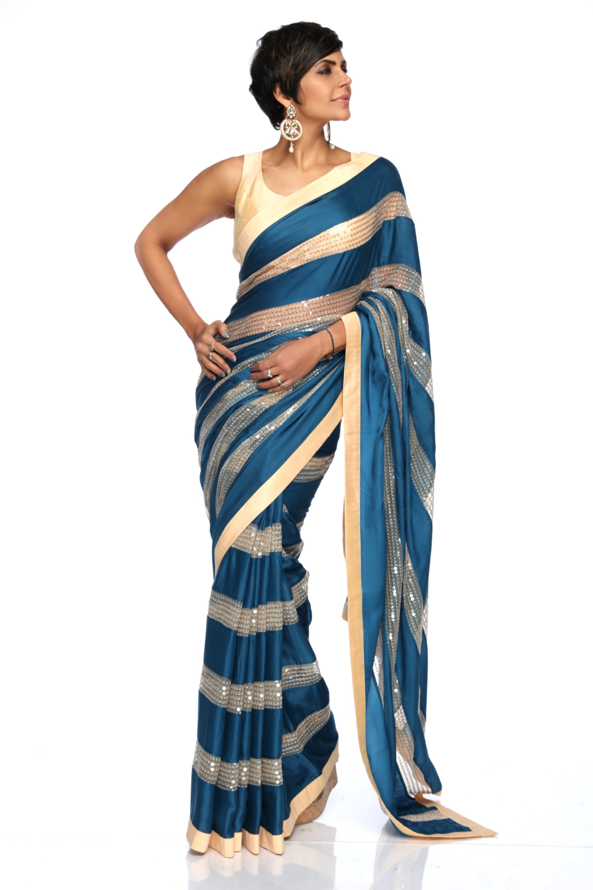Teal Blue & Beige Sequins Saree FRONT
