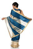 Teal Blue & Beige Stripe Sequins Saree BACK