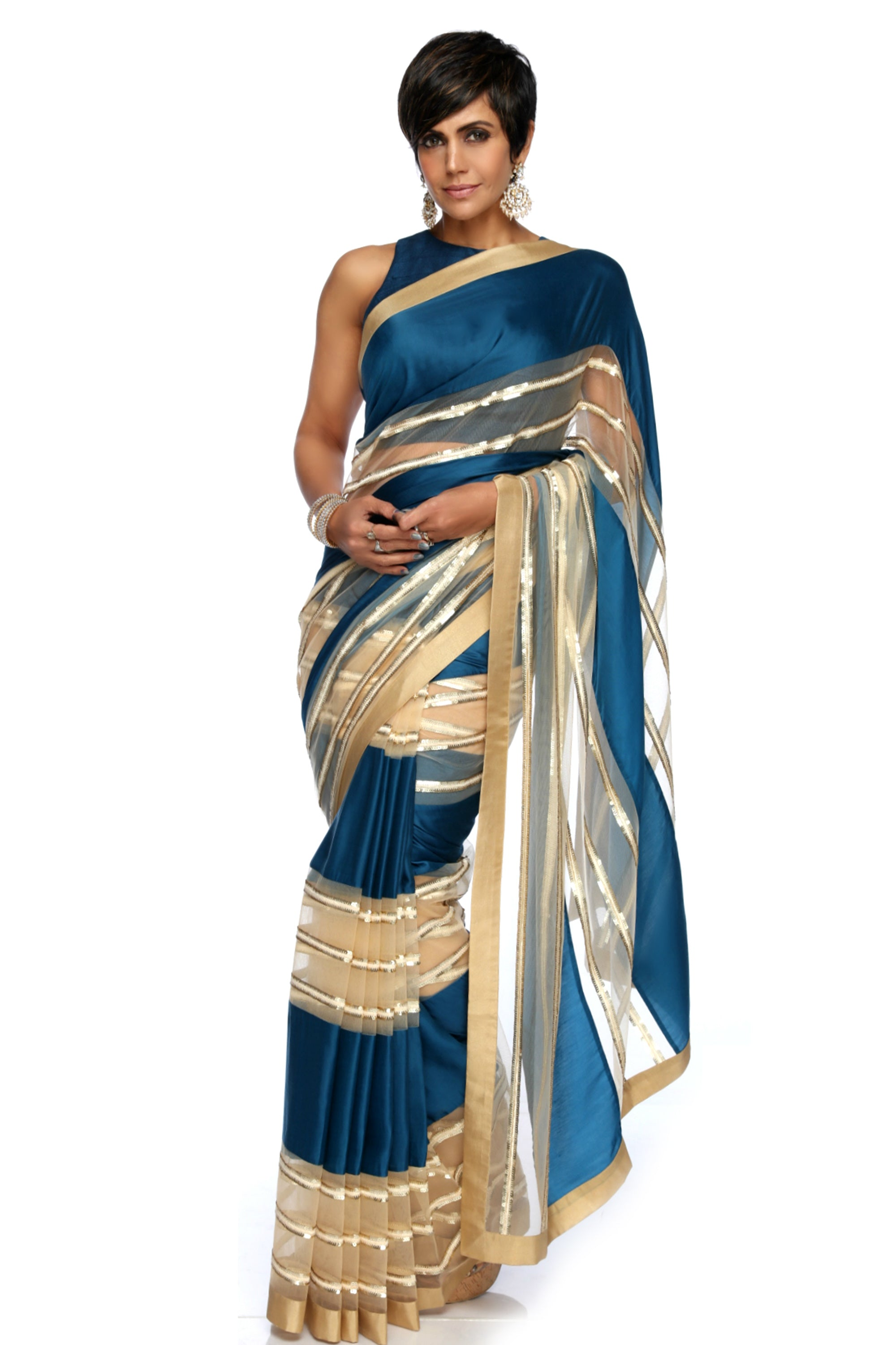 Teal Blue & Beige Stripe Sequins Saree FRONT