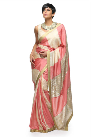 Salmon Pink & Off White Habotai Silk Saree Front