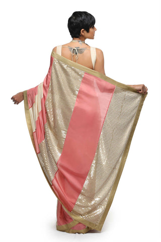 Salmon Pink & Off White Habotai Silk Saree