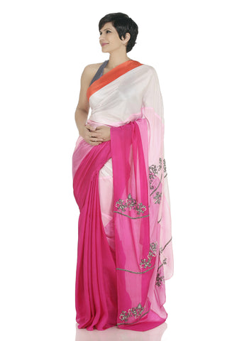 Panelled Silk Saree Front