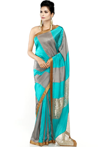 Grey & Sea Green Habotai Silk Saree Front