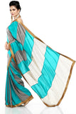 Grey & Sea Green Habotai Silk Saree Side
