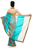 Grey & Sea Green Habotai Silk Saree Back