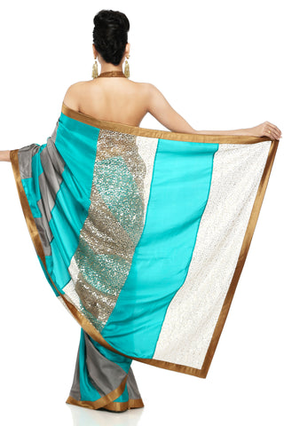 Grey & Sea Green Habotai Silk Saree