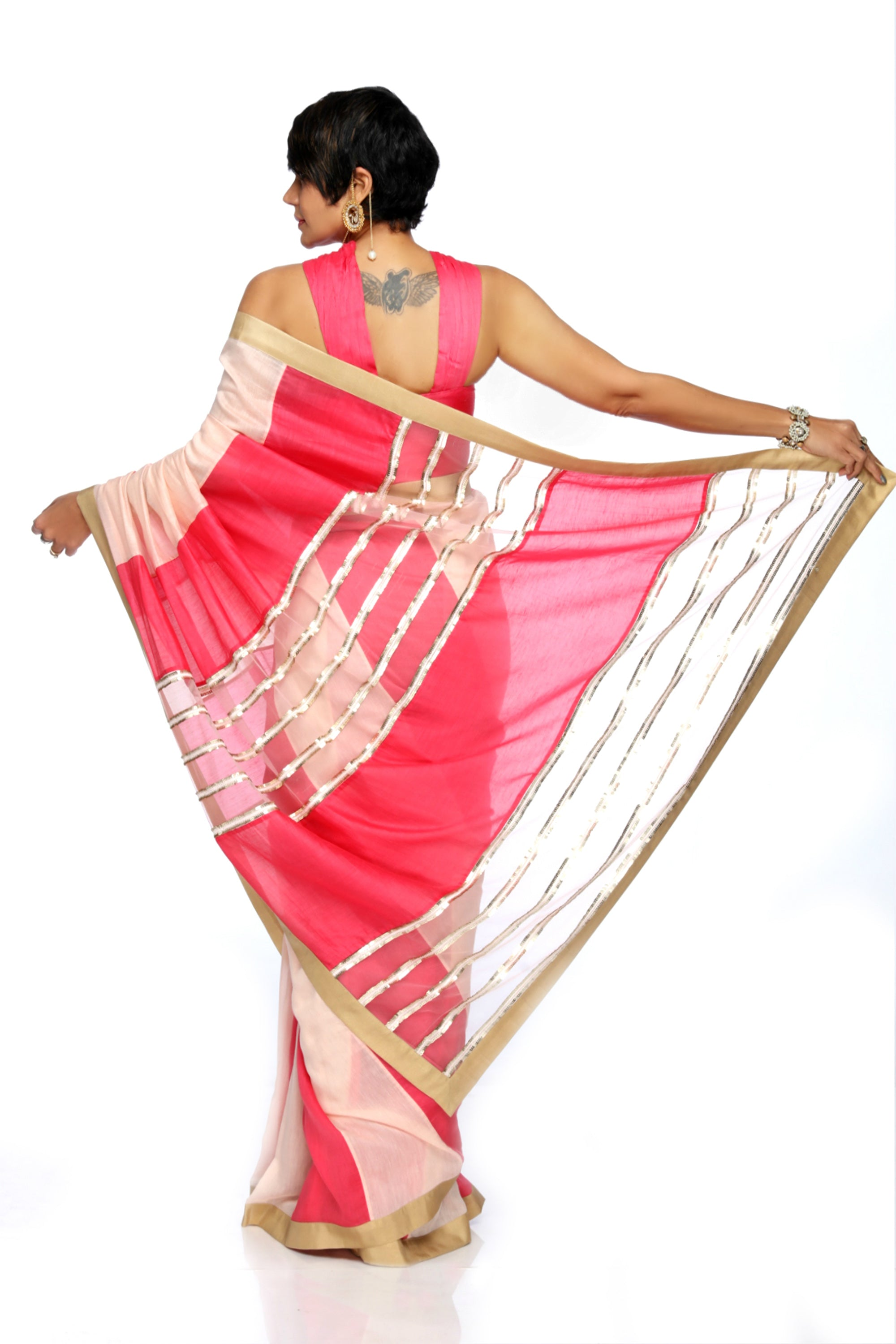 Light Pink & Raspberry Linen Saree BACK