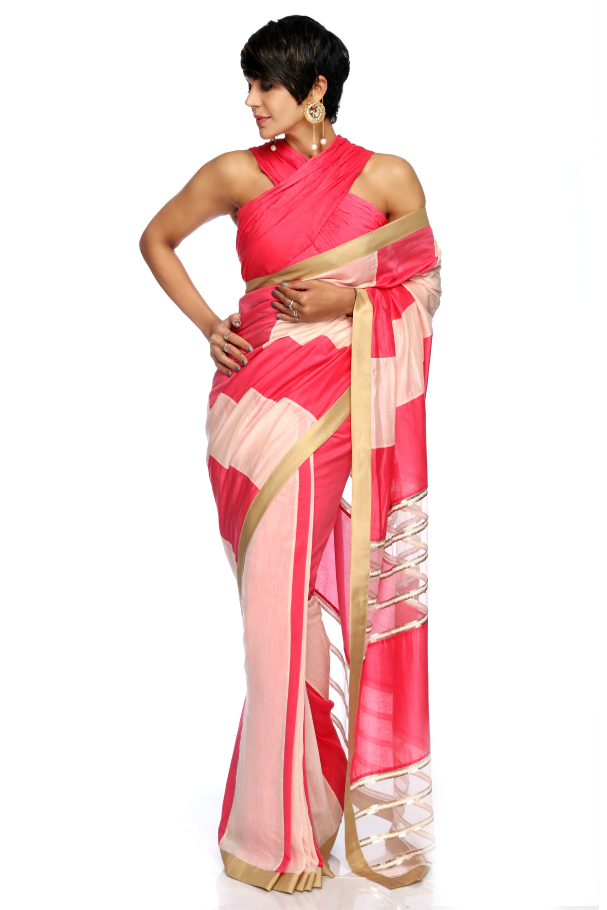 Light Pink & Raspberry Linen Saree FRONT