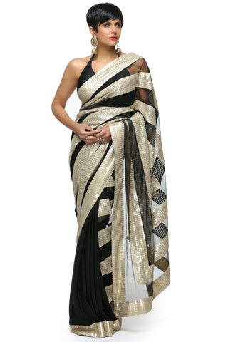 Black Silk Saree Front