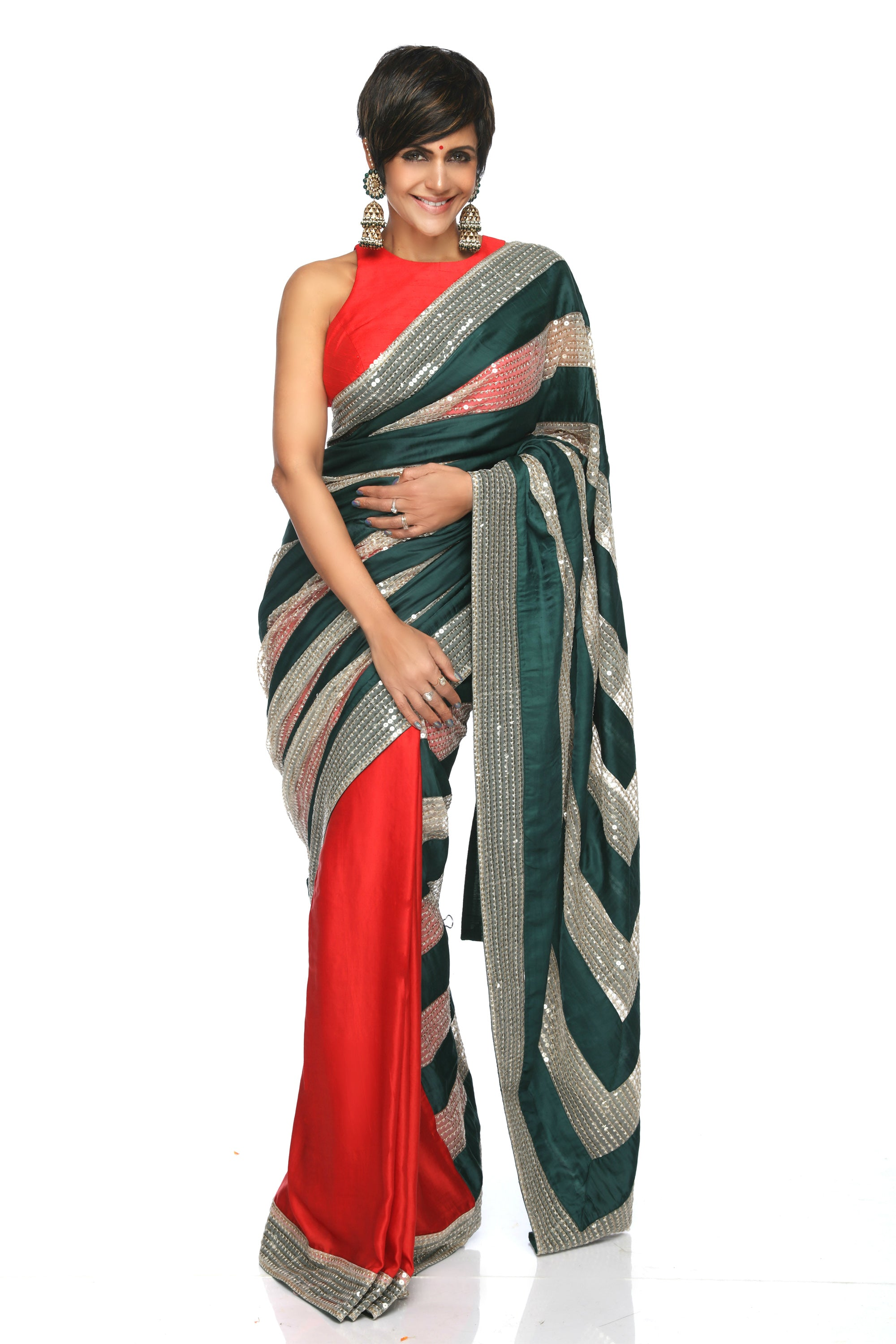 Red & Green Saree With Sequins Stripes FRONT