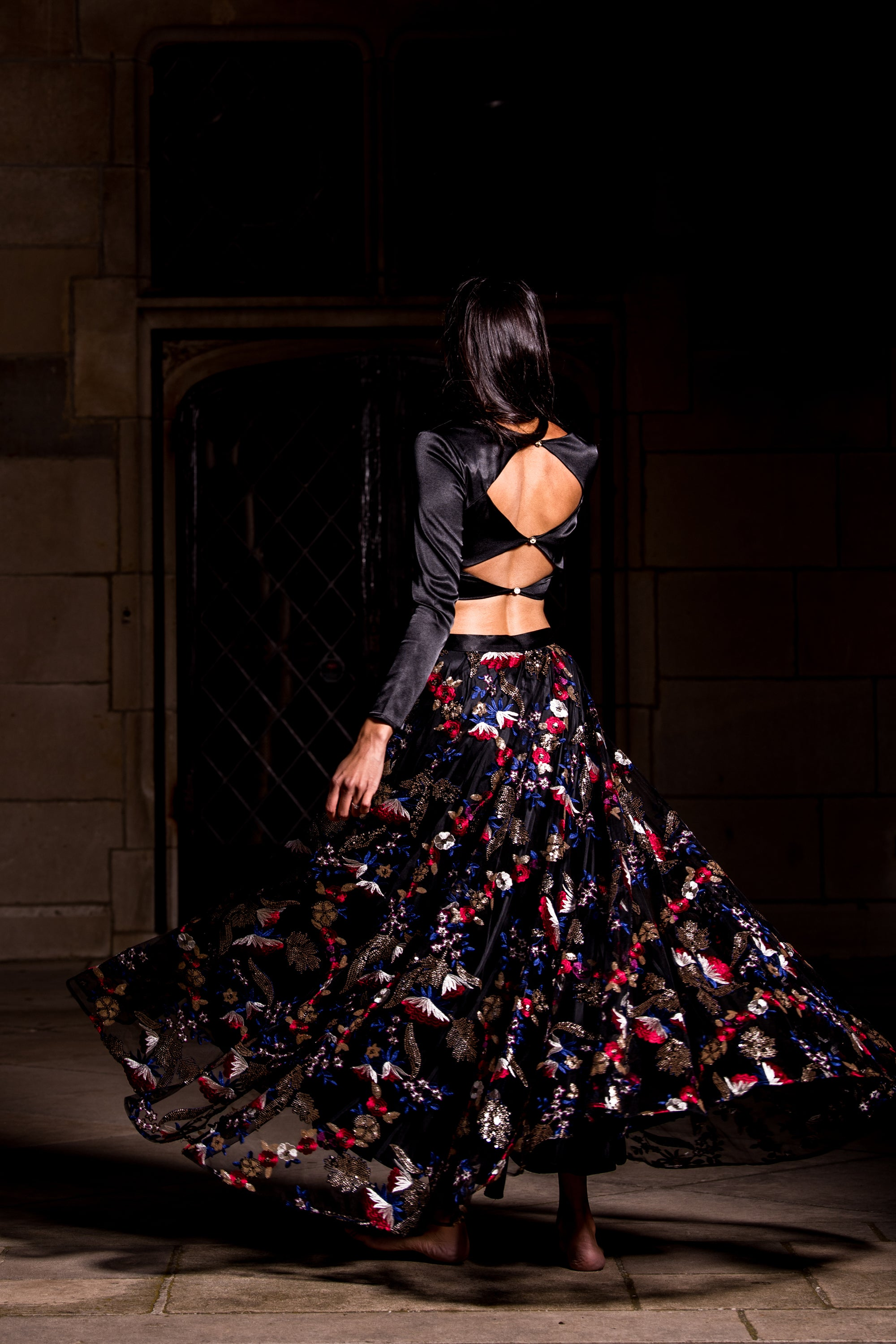 Black Floral Sequin Lehenga BACK