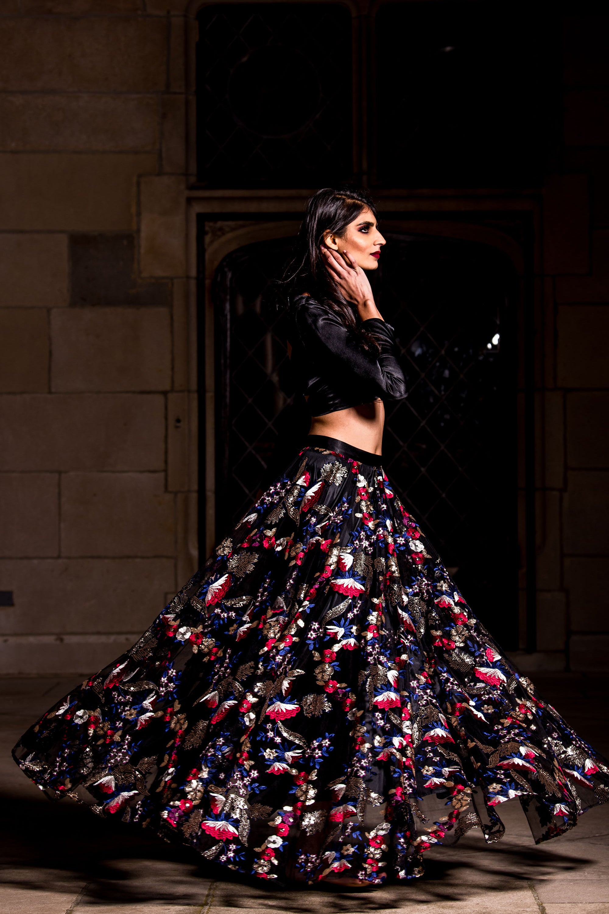 Black Floral Sequin Lehenga SIDE