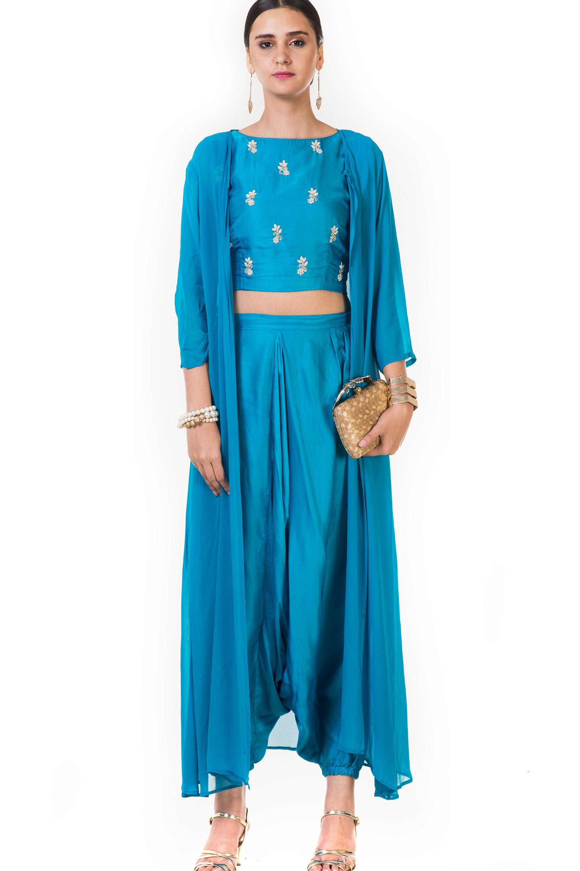 Blue Hand Embroidered Indo-western Dhoti & Crop Top Set with Cape FRONT