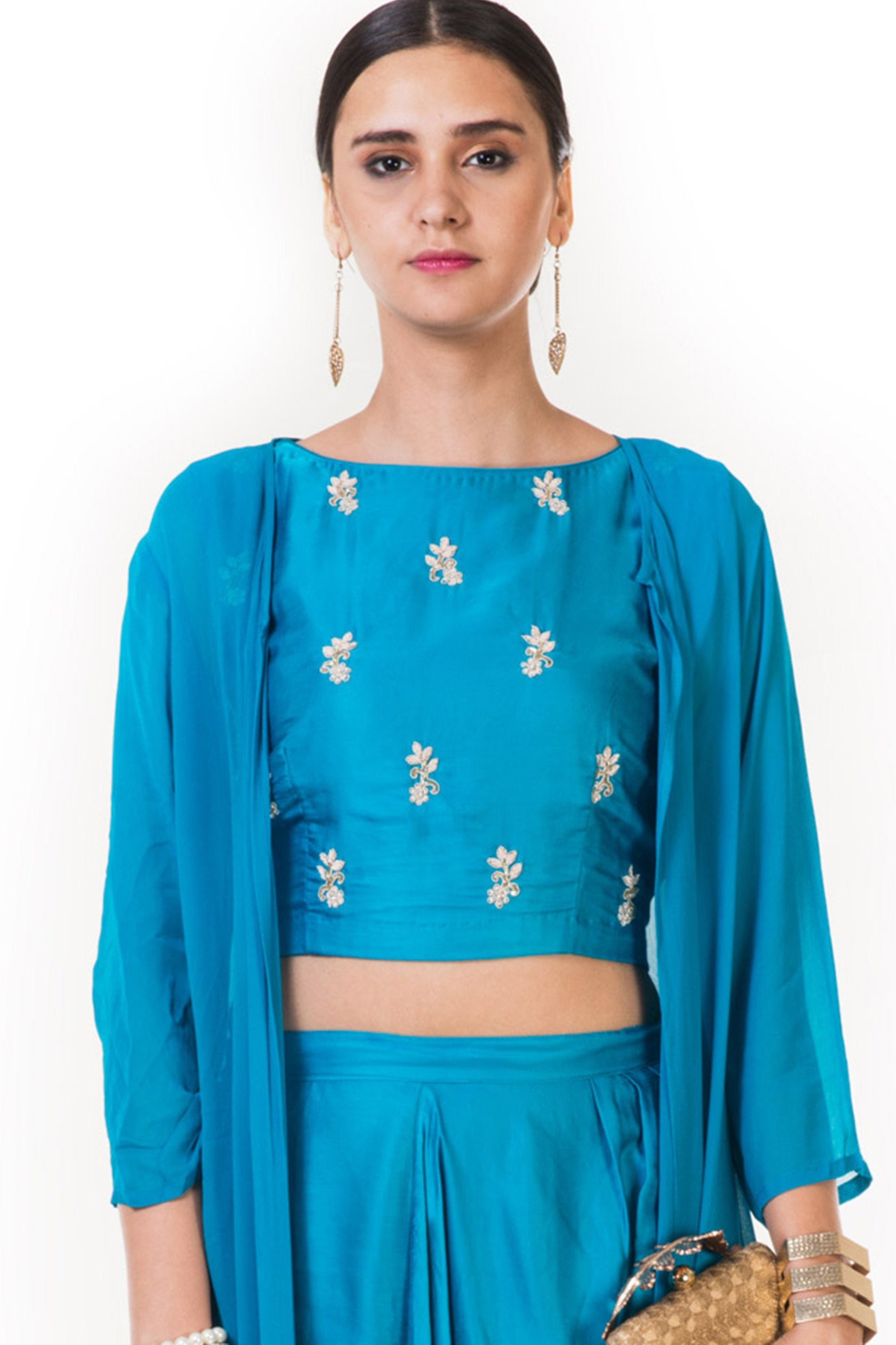 Blue Hand Embroidered Indo-western Dhoti & Crop Top Set with Cape CLOSE