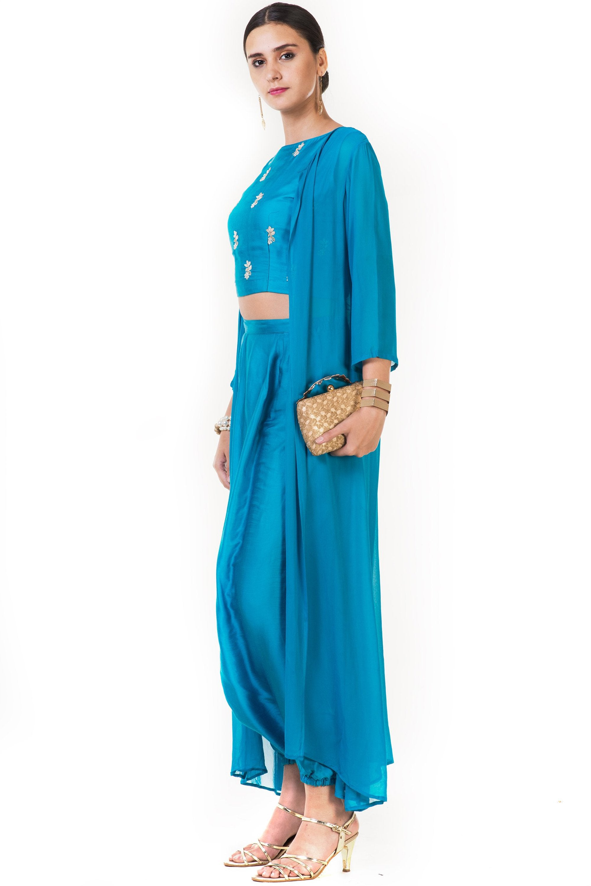 Blue Hand Embroidered Indo-western Dhoti & Crop Top Set with Cape SIDE