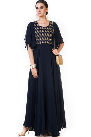 Navy Blue Rose Embroidered Gown Front