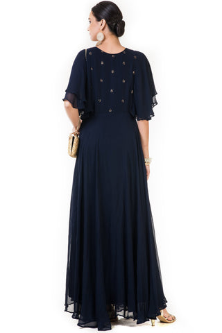 Navy Blue Rose Embroidered Gown