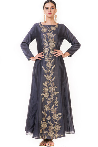 Hand Embroidered Dark Grey Anarkali Gown Front
