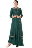 Bottle Green Leaf Embroidered Jacket & Gown FRONT