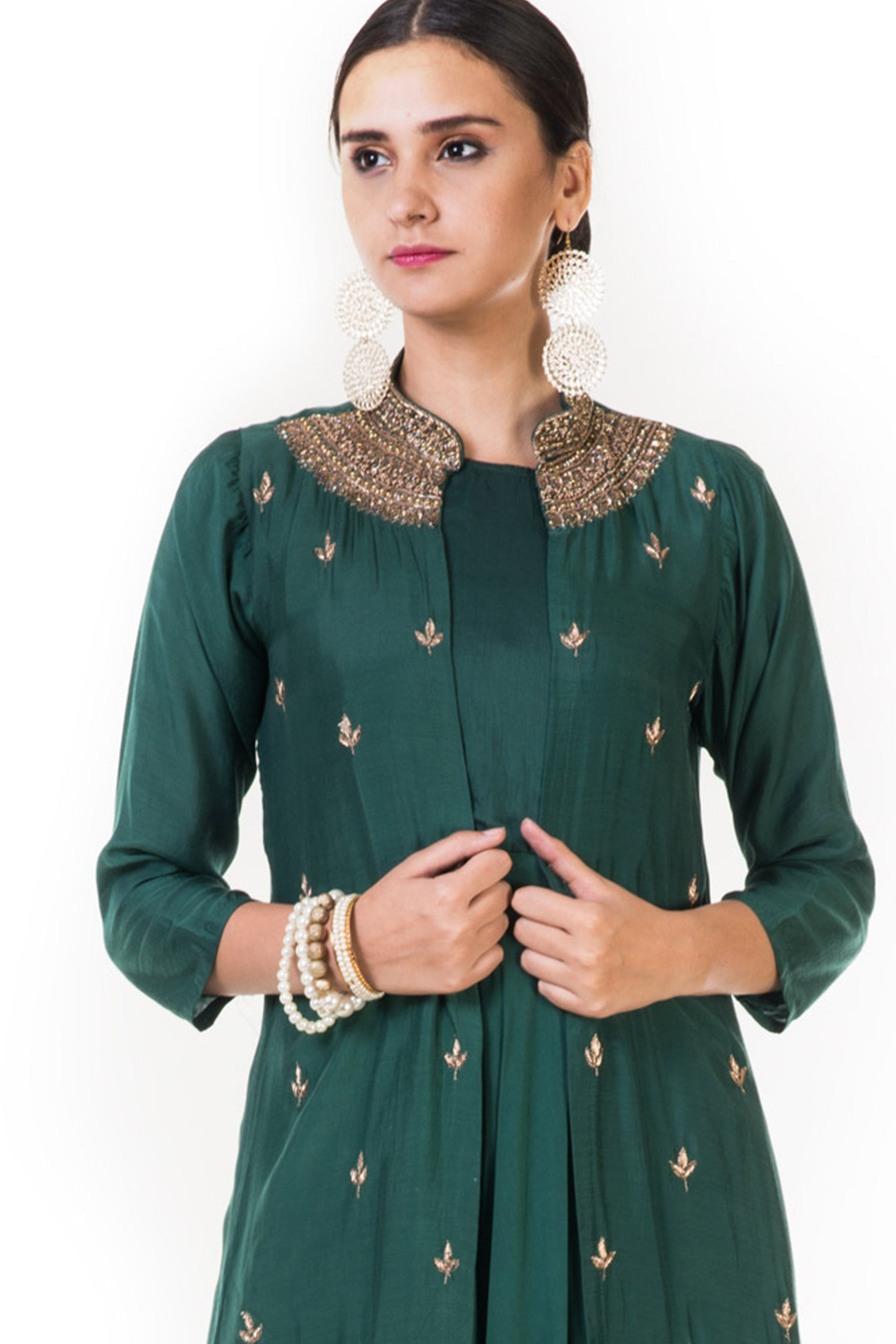 Bottle Green Leaf Embroidered Jacket & Gown CLOSE