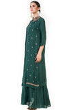 Bottle Green Leaf Embroidered Jacket & Gown SIDE
