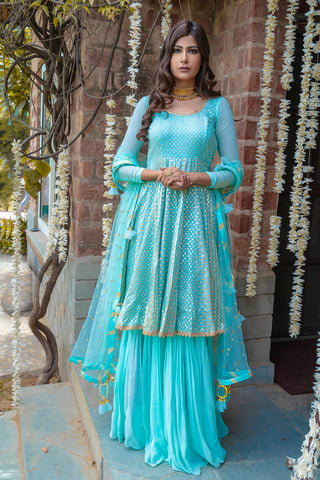 Baby-Blue Chanderi Anarkali FRONT