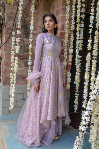 Modest Mauve Four-Panel Anarkali & Palazzo SIDE