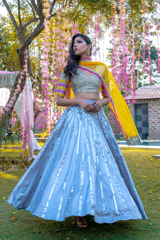 Out Shine Silver Lehenga & Dupatta SIDE
